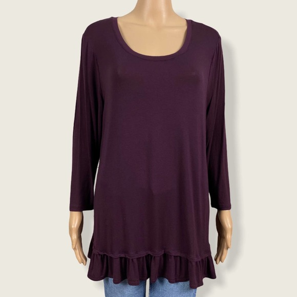 Logo Lori Goldstein Peplum Ruffled Knit Shirt Top